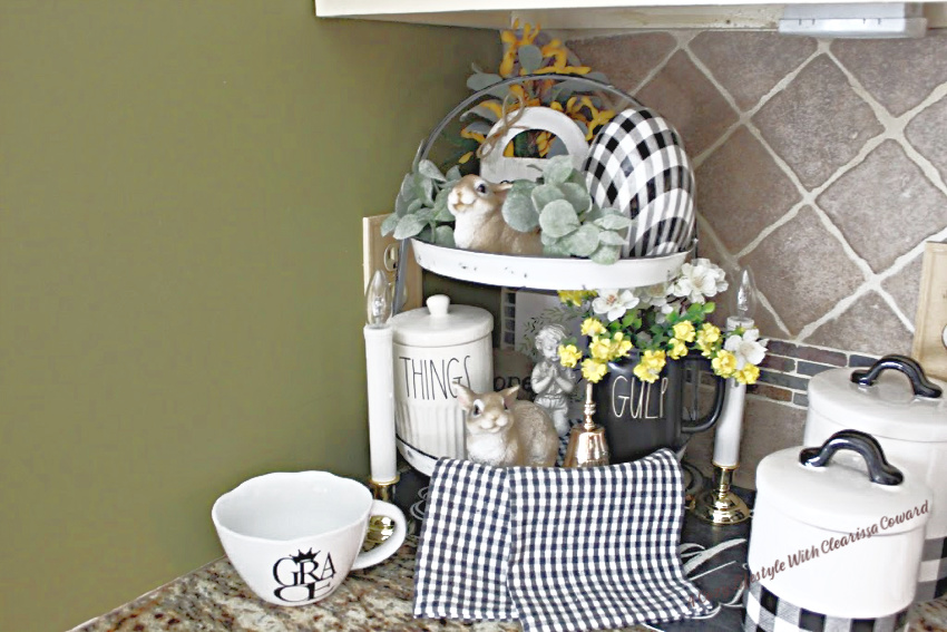 spring kitchen vignette